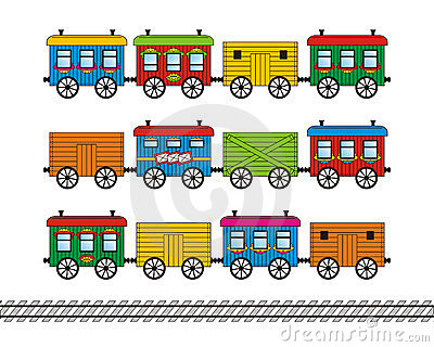 Toy train cars and track set