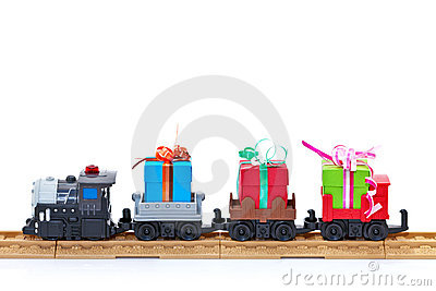 Toy train with presents