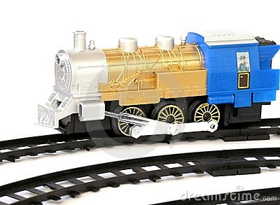Toy train with rails,
