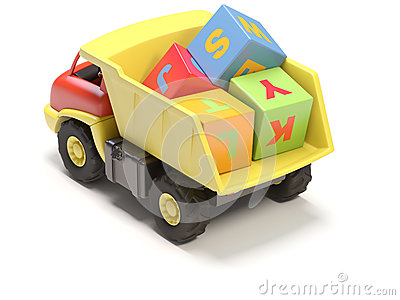 Toy truck and cubes