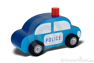 Toy wood police car