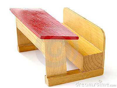 Toy wooden school bench