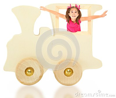 Toy Wooden Train with Girl