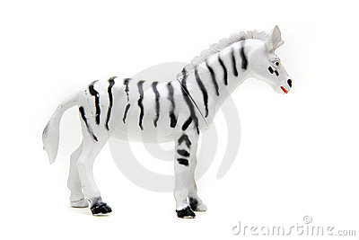 Toy zebra over white