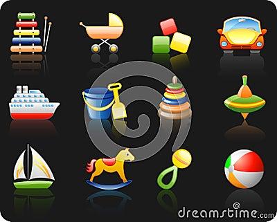 Toys_black background icon set