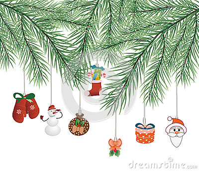 Toys on Christmas tree vector
