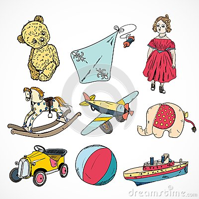 Free Toys Colored Sketch Icons Set Stock Photos - 39502763