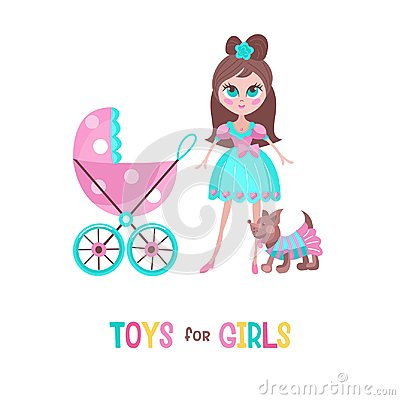 Free Toys For Little Princesses. Set Of Vector Cliparts. Stock Photo - 123114380