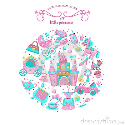 Free Toys For Little Princesses. Set Of Vector Cliparts. Stock Photos - 123114533