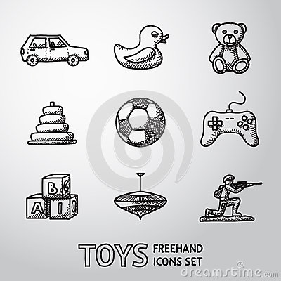 Free Toys Hand Drawn Icons Set With - Car, Duck, Bear Stock Photo - 57497170