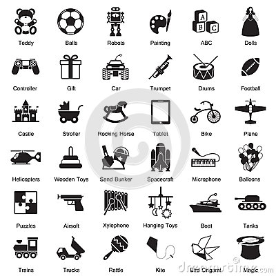 Free Toys Icon Set Royalty Free Stock Photo - 43929385