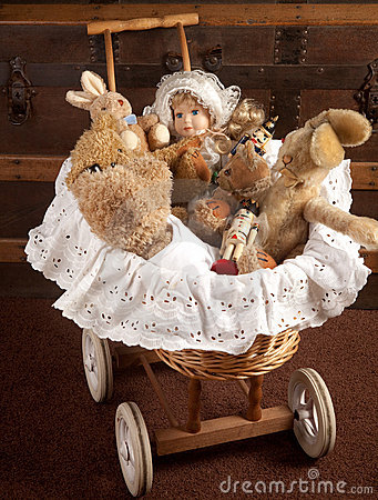 Toys in old cradle