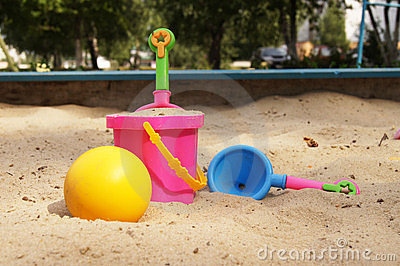 Toys in a sandbox