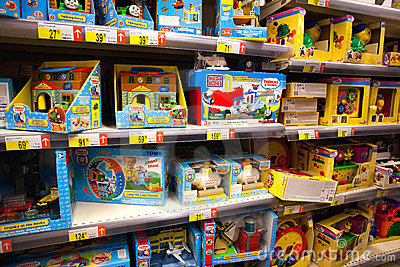 Toys in supermarket Editorial Stock Image