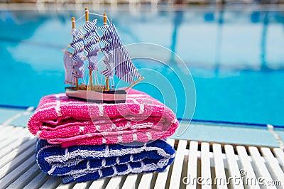 Toys at swimming pool