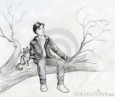 Träumer auf dem Baum