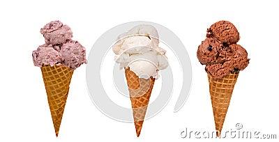 Três cones de gelado