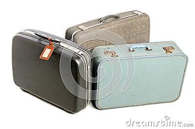 Três malas de viagem do vintage