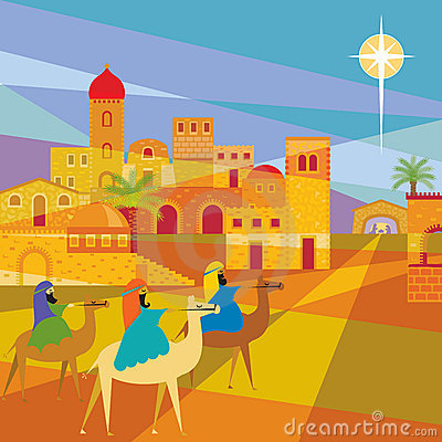 Três reis Entering Bethlehem