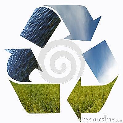 Três setas de elementos da natureza