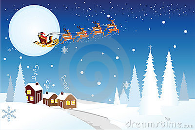Traîneau d équitation de Santa avec des rennes