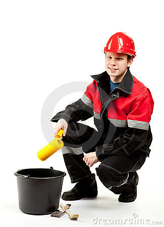 Trabajador de construcción en uniforme