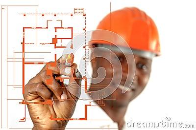 Trabajador de construcción Sketching Blueprints