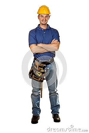 Trabajador manual joven aislado permanente