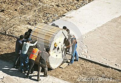 Trabajadores Foto editorial