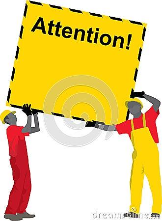 Trabajadores de construcción que sostienen el cartel