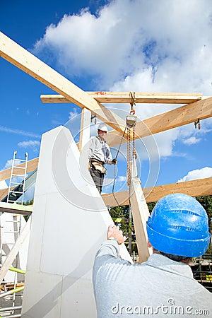 Trabajadores de construcción reales