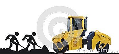Trabajadores y máquina del camino