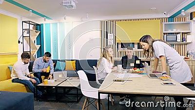 Trabajo de oficina durante el día Los colegas trabajan en la sala de reunión, vídeo del timelapse metrajes