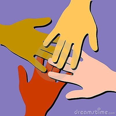 Trabajo en equipo colorido de las manos amigas