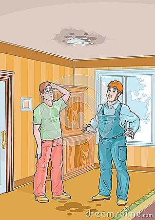 Trabalhador com seu telhado do cliente e do gotejamento
