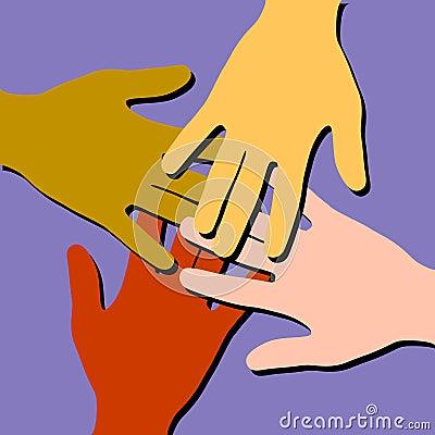 Trabalhos de equipa coloridos das mãos amiga