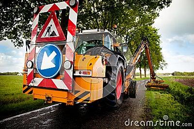 Trabalhos em curso da estrada