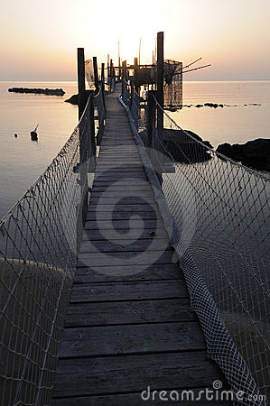 Free Trabocco Into The Sunset Royalty Free Stock Photography - 5571487