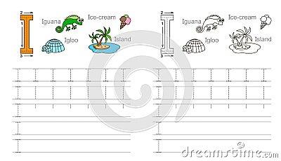 Tracing Worksheet For Letter J Stock Vector - Image: 62840197
