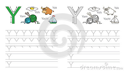 Tracing Worksheet For Letter Y Stock Vector - Image: 62840287