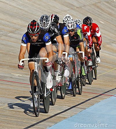 Track cyclists line pack Editorial Stock Photo