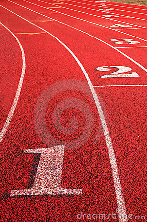 Free Track Field Rounding First Curve Lane Numbers Stock Photos - 8840183