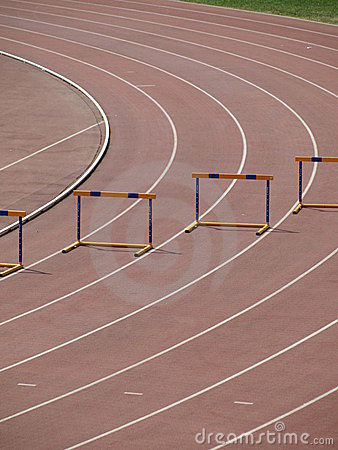 Track with hurdles