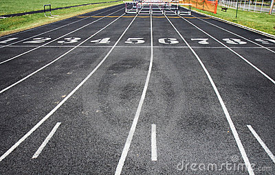 Track with lanes and hurdles