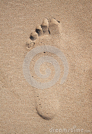 Track man feet in the sand Stock Photo