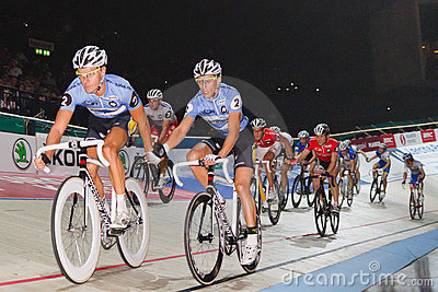 Track racer change lead Editorial Stock Image