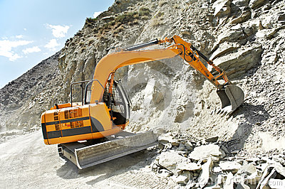 Track-type loader excavator at mountain work