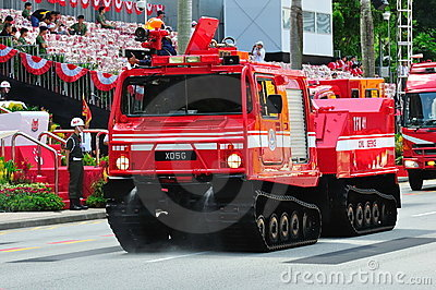 Tracked fire fighting vehicle at NDP 2010 Editorial Image