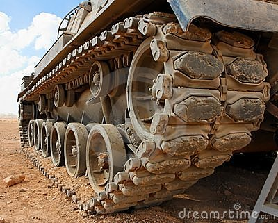 Tracks of the Israeli Magach tank in the desert cl