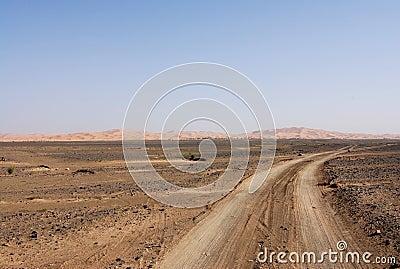Tracks through the Sahara Desert